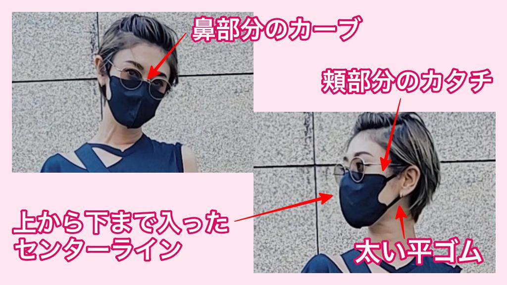 山田優着用の黒の立体不織布マスクの特徴