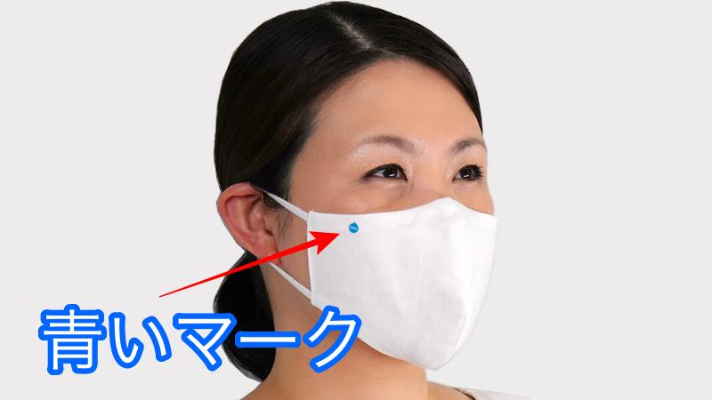 安達祐実さんが使っているマスク「ハイドロ銀チタンソフトガーゼ立体マスク」の特徴である【青いロゴマーク】がわかるの画像