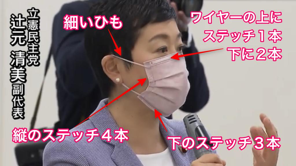辻元清美着用マスクの特徴