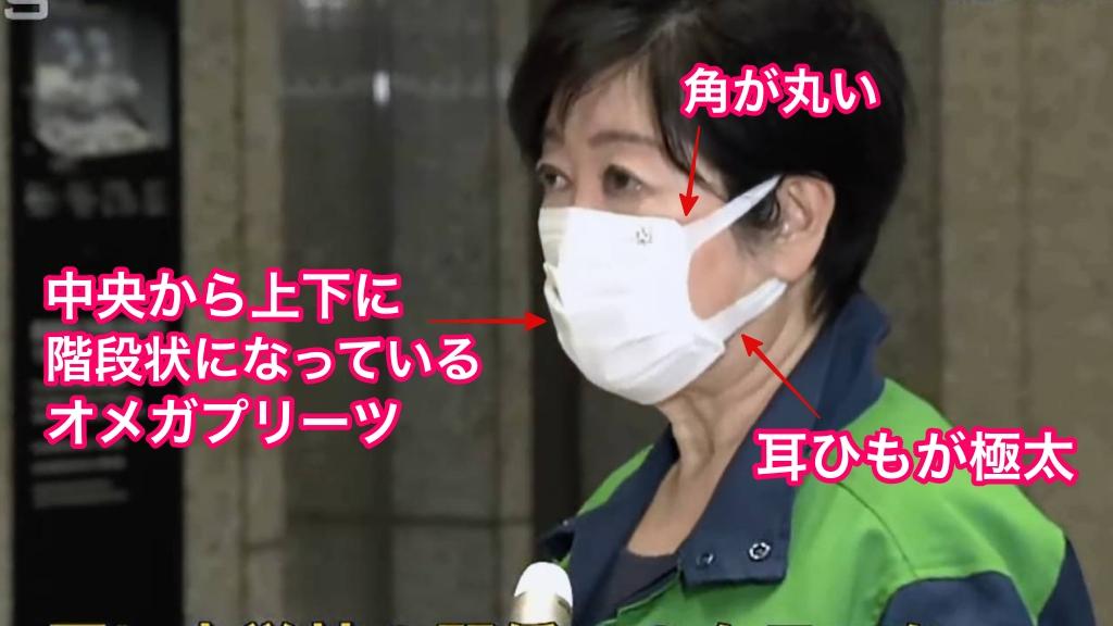 小池百合子着用不織布マスクの特徴